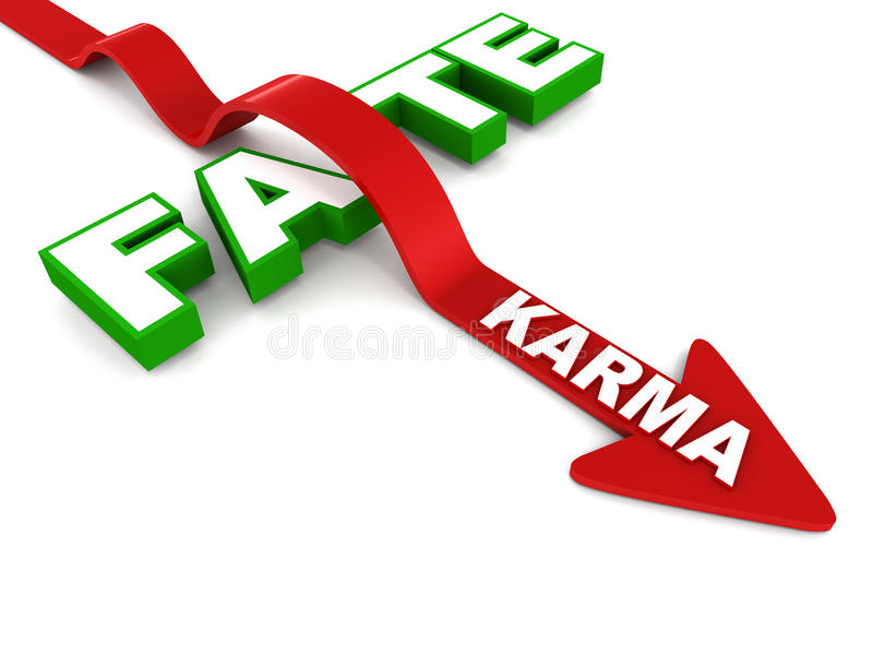 Fate and karma. Overcome fate with karma, or deeds. concept of believing in what you do over destiny vector illustration