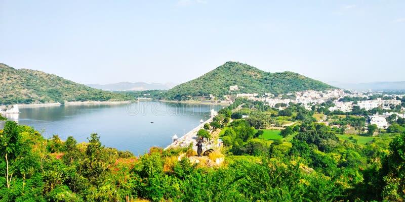 Fateh Sagar湖,乌代浦,拉贾斯坦,印度 免版税库存照片