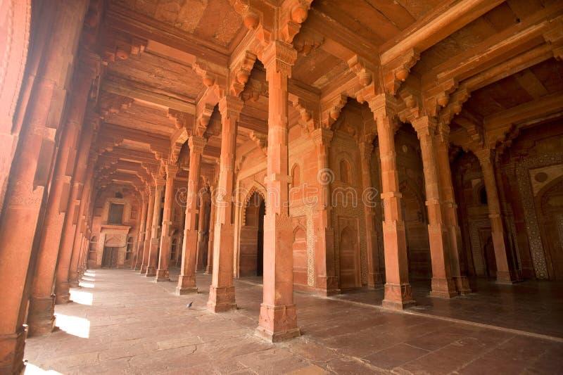 Fatehpur korytarz Czerwony szpaltowy Sikri, India obrazy stock