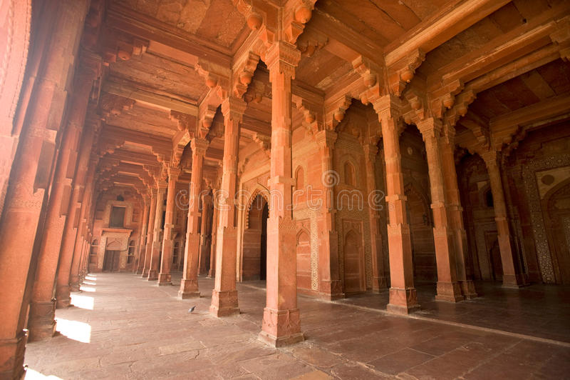 Fatehpur Sikri红色列走廊,印度 库存图片