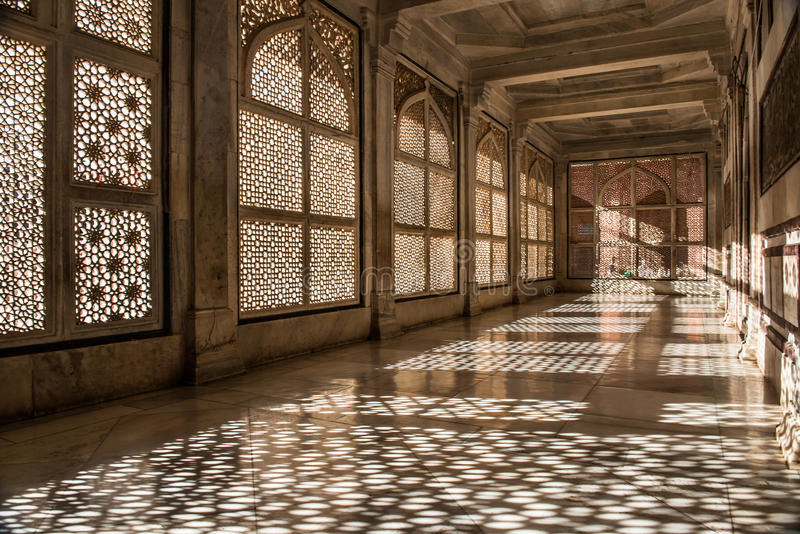 Fatehpur Sikri Mosque stone lace shadows. Fatehpur Sikri Mosque stone lace shadow in Agra district in the state of Uttar Pradesh, India royalty free stock photography