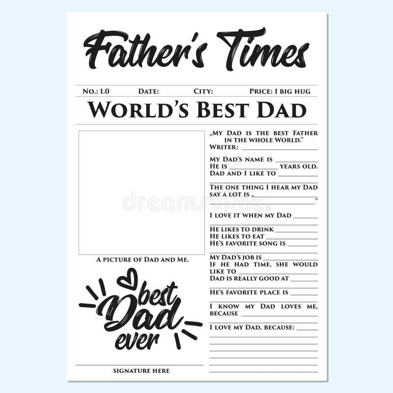 Father's mide el tiempo - del regalo del día de padre, memorias, regalo rápido, fácil, maravilloso, conmovedor ilustración del vector