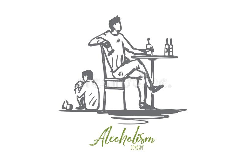 Father, alcohol, drunk, child, alcoholism concept. Hand drawn isolated vector. Father, alcohol, drunk, child, alcoholism concept. Hand drawn drunk father and stock illustration