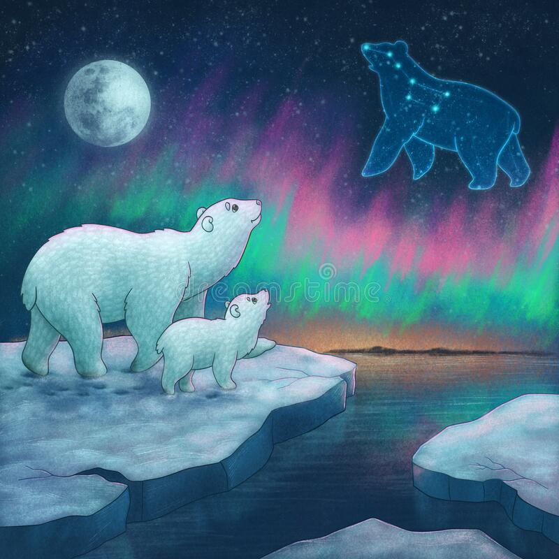 Free Father And Baby Polar Bear Stand On The Ice And Look At The Sky. Night. Save The Environment. Royalty Free Stock Images - 203157199