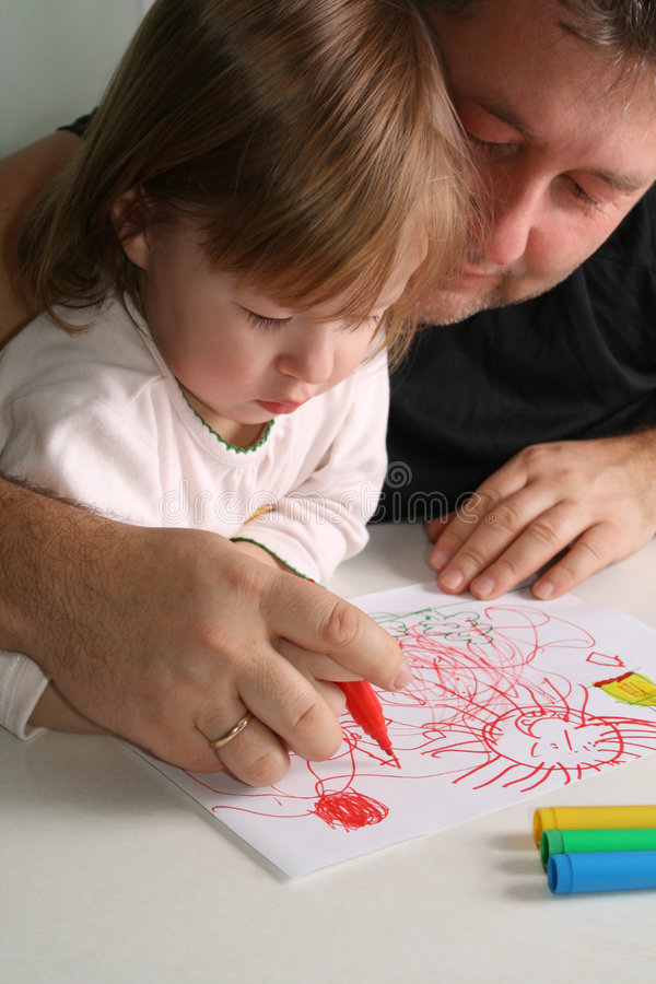 Free Father And Daughter Drawing Stock Photography - 4714502