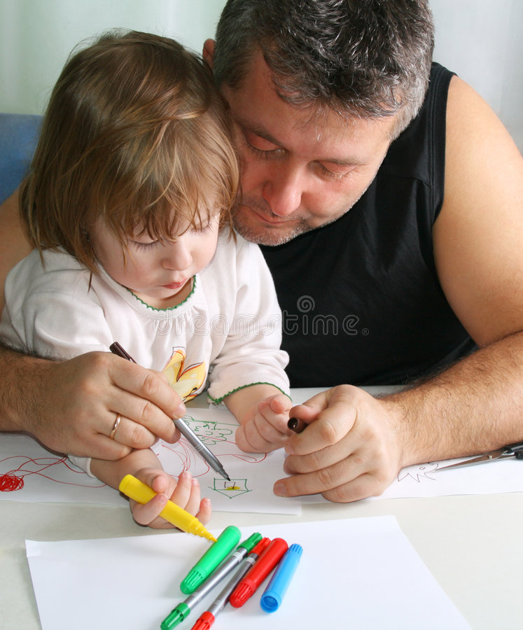 Free Father And Daughter Drawing Stock Images - 4714514
