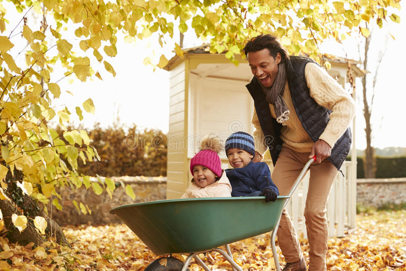 Father In Autumn Garden Gives Children Ride In Wheelbarrow royalty free stock photos