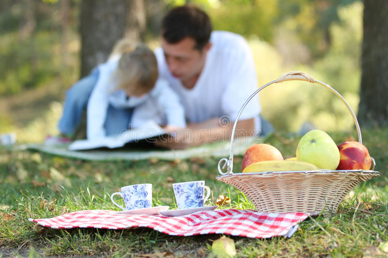 Father with baby daughter reading the Bible on a picnic royalty free stock photography