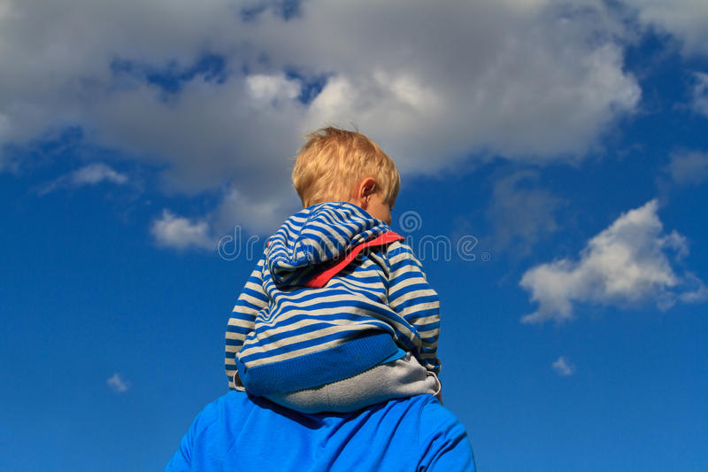 Father with baby in nature stock images