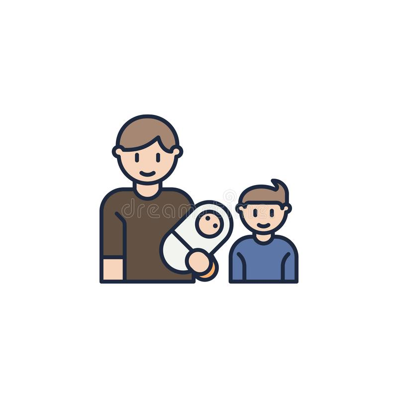 father with baby and son colored icon. Element of family icon for mobile concept and web apps. Colored father with baby and son ic royalty free illustration