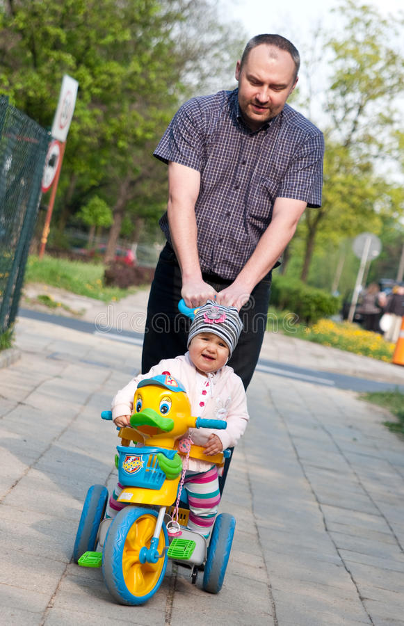 Father and baby walk royalty free stock photo