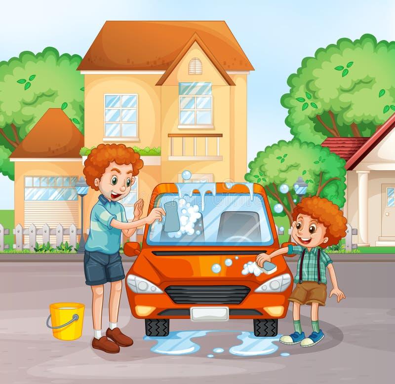 Father and boy washing car. Illustration stock illustration