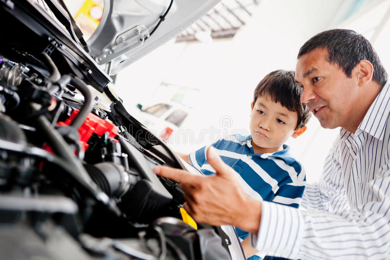 Father buying car with his son