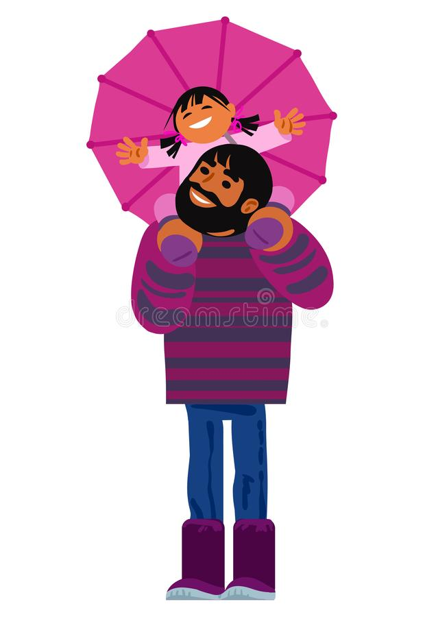 Father carrying his little daughter on shoulders. Happy family under an umbrella. Cartoon vector. stock illustration