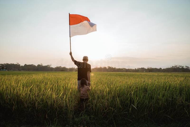 Father carrying little girl pride flapping Indonesian flag with happiness. In the rice field stock images