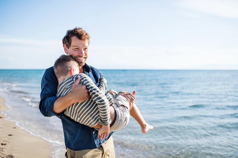 Father carrying small son on a walk outdoors on beach. Copy space. stock photos