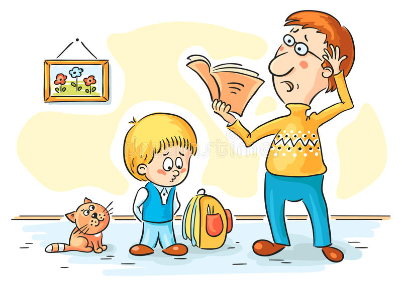 Father is checking homework. Cartoon father is checking homework royalty free illustration