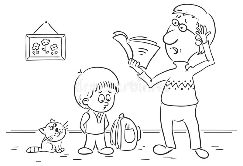 Father is checking homework. No gradients stock illustration