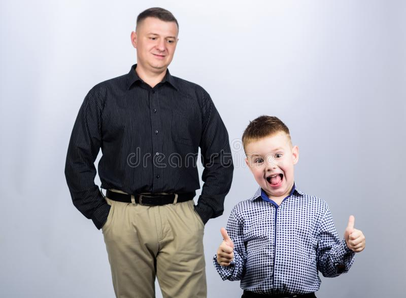 Father and cheerful little son. Best friends. Dad and adorable child. Father example of noble human. Family support. Family bonds. Trustful relations father stock photos