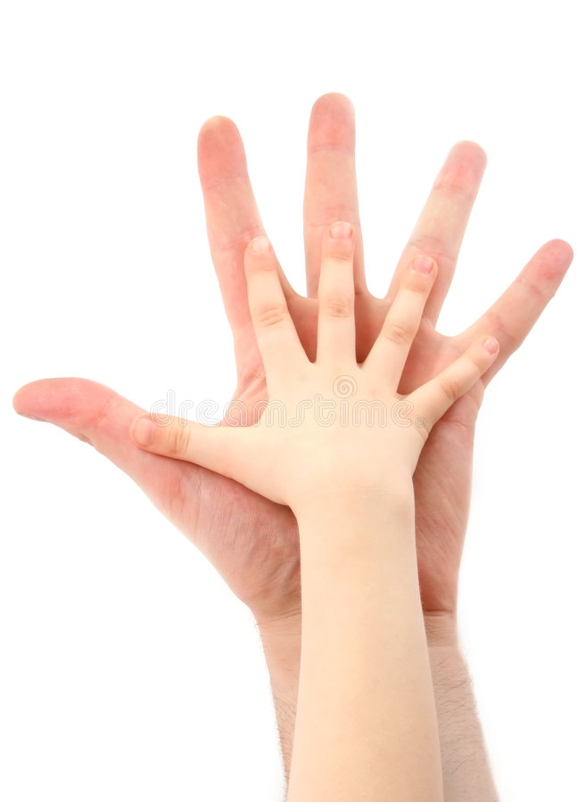 Father and child. Hand child on hand father