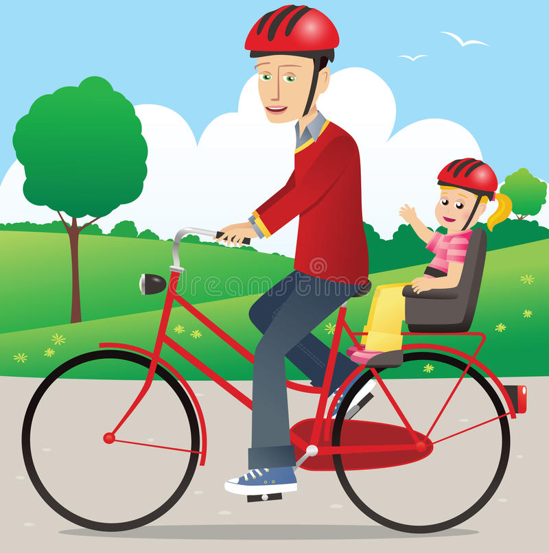 Father and child on bicycle royalty free stock photography
