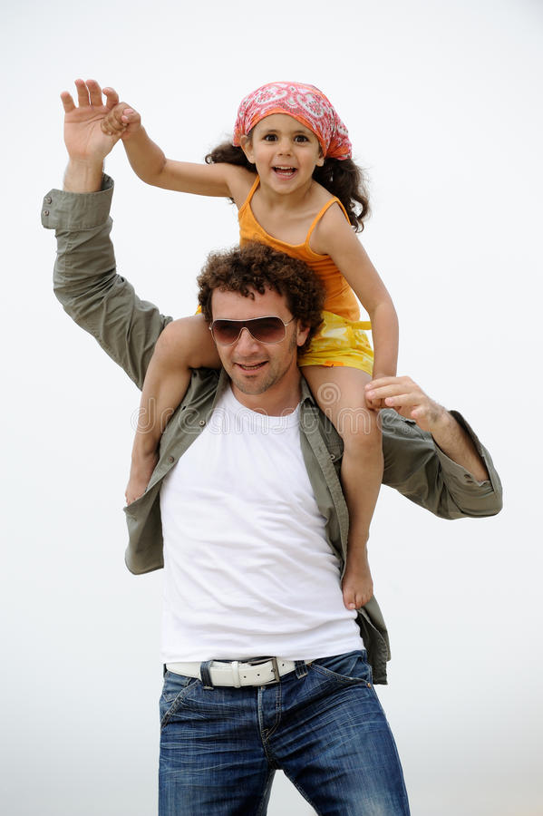 Father and child have fun stock photo