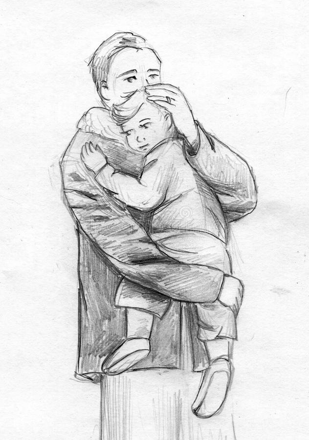 Father And Child Pencil Sketch Stock Illustration ...