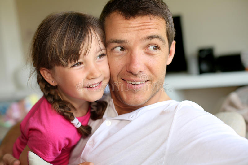 Father and child portrait. Portrait of daddy with little girl stock images