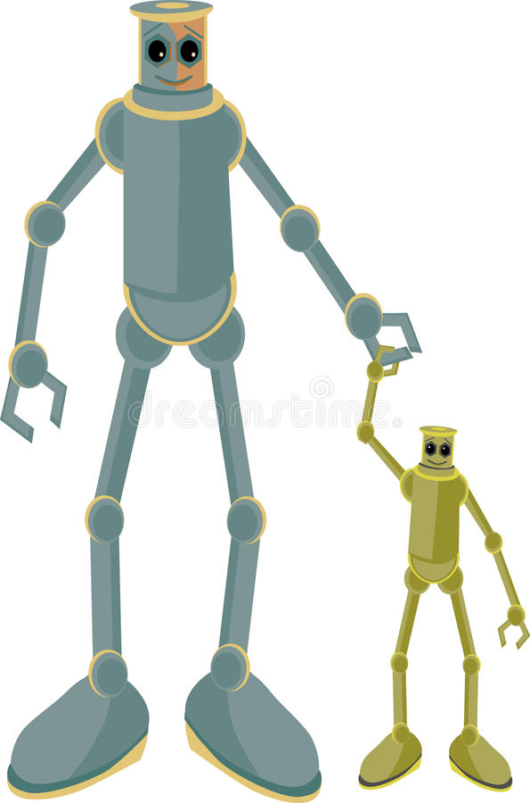 Download Father And Child Robots Holding Hands Stock Vector - Illustration: 9379381