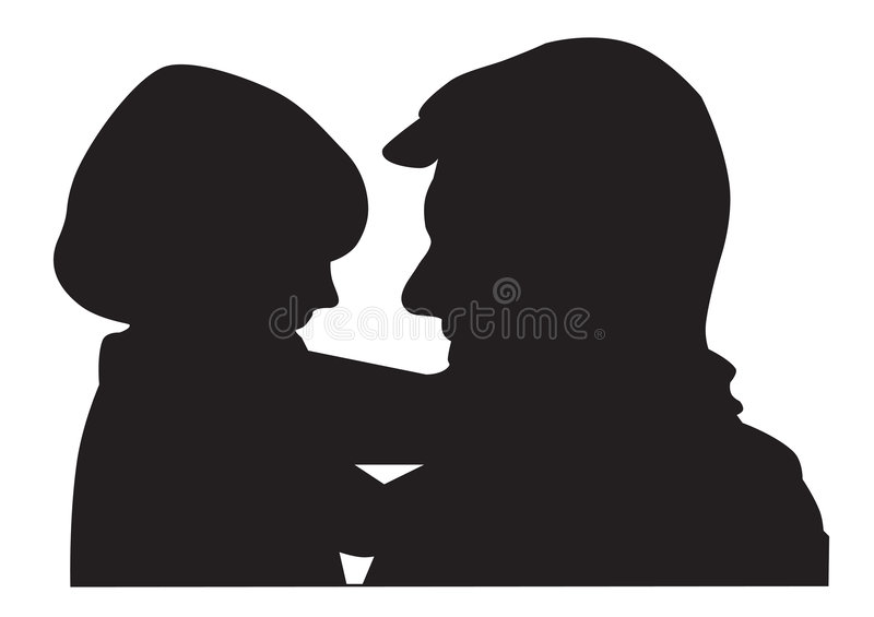 Father and child silhouette vector illustration