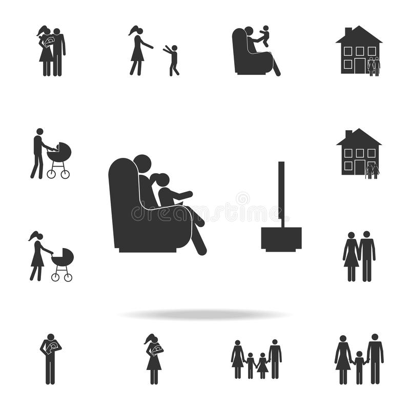 Father and child watching TV icon. Detailed set of family icons. Premium graphic design. One of the collection icons for websites,. Web design, mobile app on vector illustration