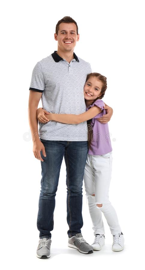 Father with child on white background. Happy family royalty free stock images