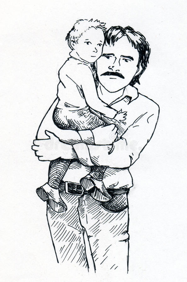 Download Father and child stock illustration. Image of moustache - 40727863
