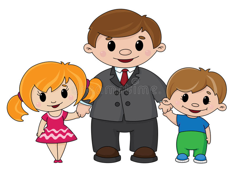 Father and children stock illustration