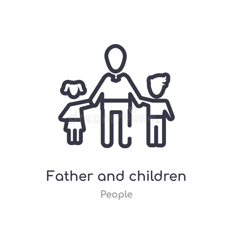 father and children outline icon. isolated line vector illustration from people collection. editable thin stroke father and vector illustration