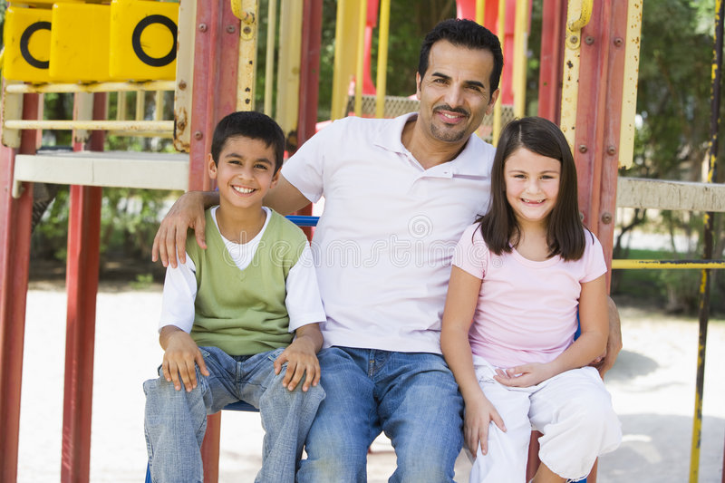 Download Father With Children In Playground Stock Image - Image: 5207223