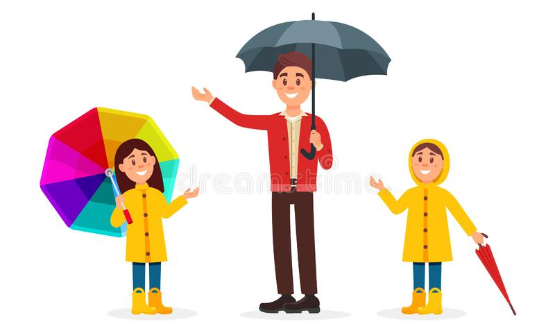 Father And Children Walking Outdoors In Rainy Day Illustration vector illustration