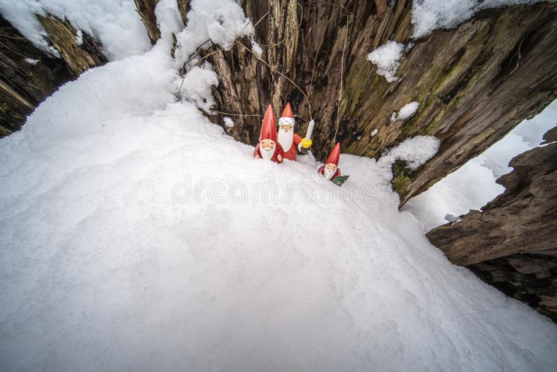 Christmas ornaments in snow. Father Christmas and his helpers outdoors in the snow with tree backdrop setting the mood for Christmas royalty free stock photos