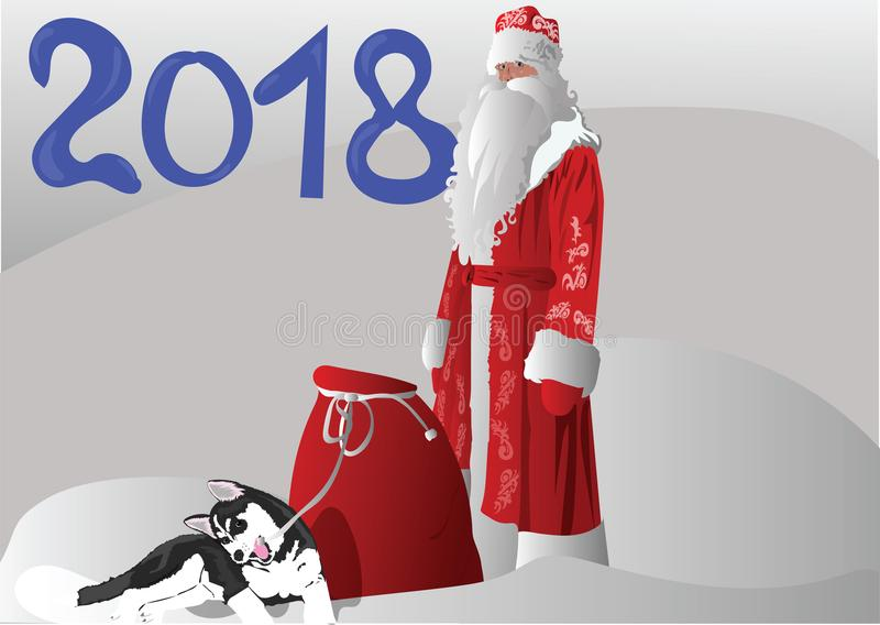 Father Christmas with a puppy husky royalty free stock photography