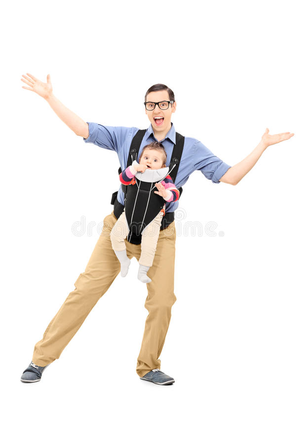 Father dancing and carrying his baby daughter stock photos