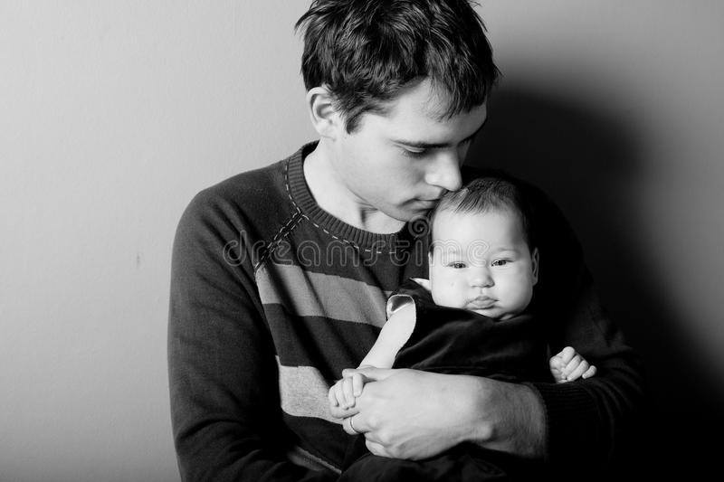 Father and daughter. Loving father with his baby daughter B&W