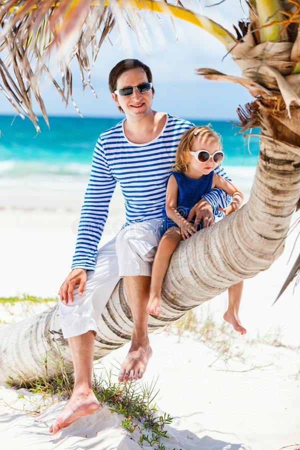 Father and daughter on Caribbean vacation royalty free stock images