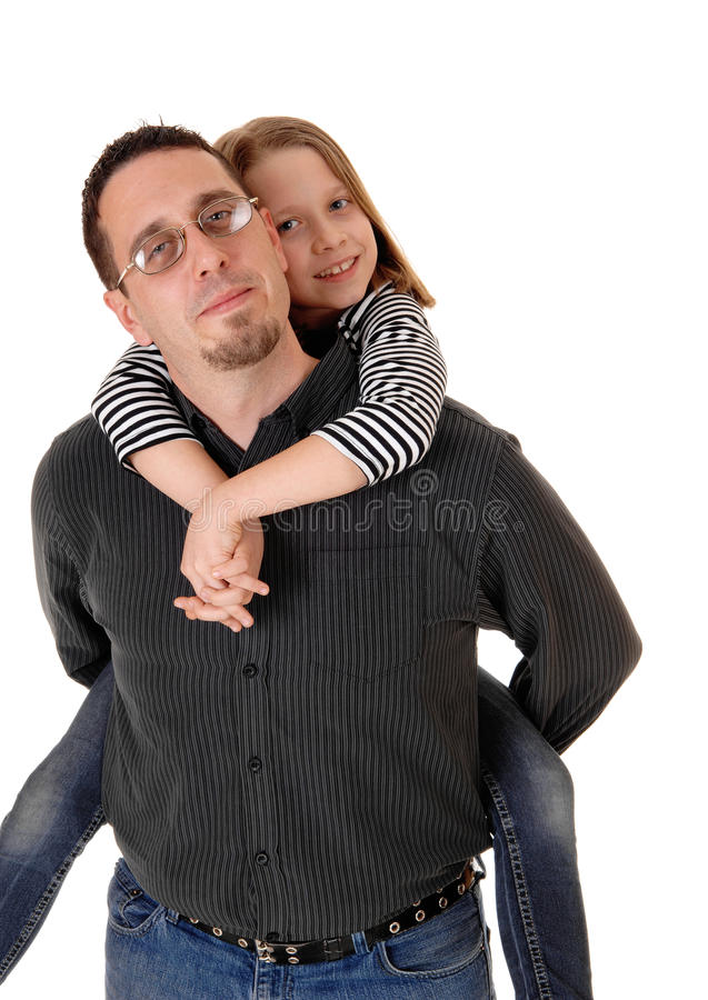 Father with daughter. A father in carrying his young daughter on his back, isolated on white background royalty free stock images