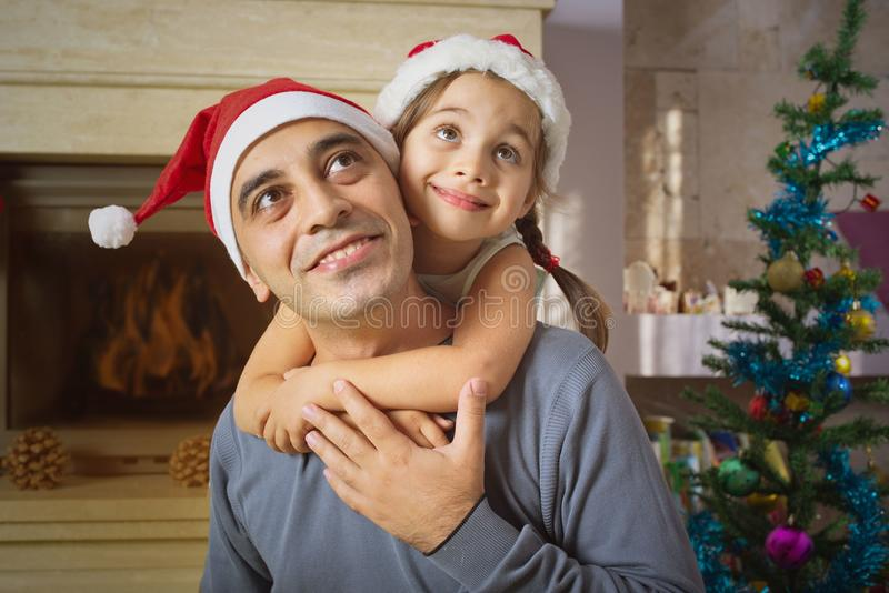 Father And Daughter Celebrating Christmas royalty free stock image