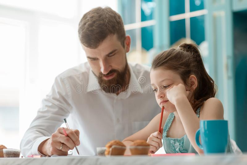 Father and daughter drawing stock photography