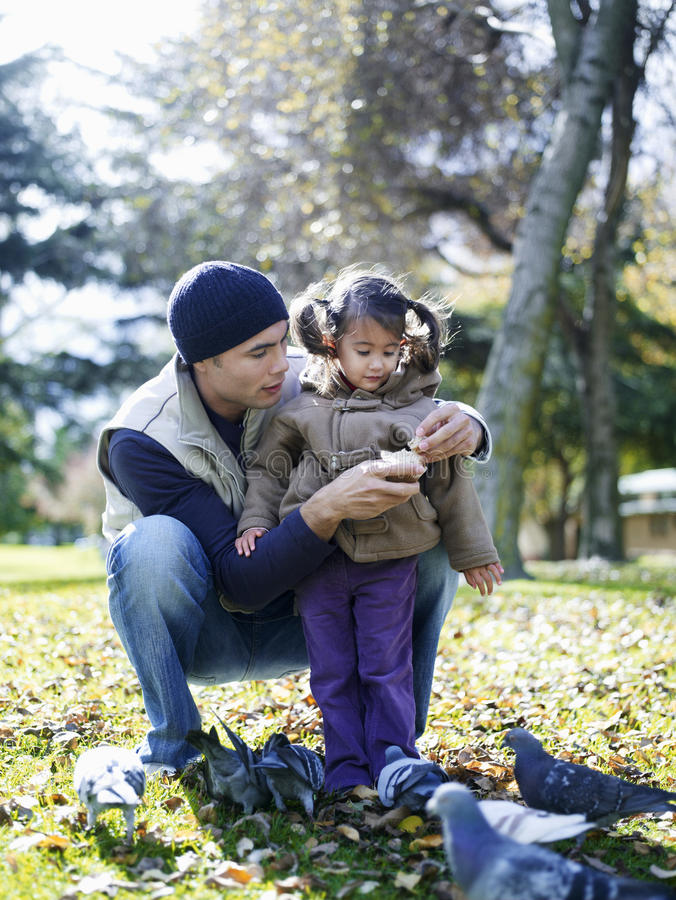 Download Father And Daughter Feeding Pigeons Stock Photo - Image: 29656474