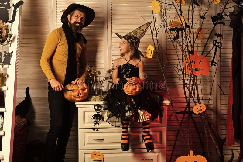Father and daughter with Halloween decor. Halloween party concept. royalty free stock images
