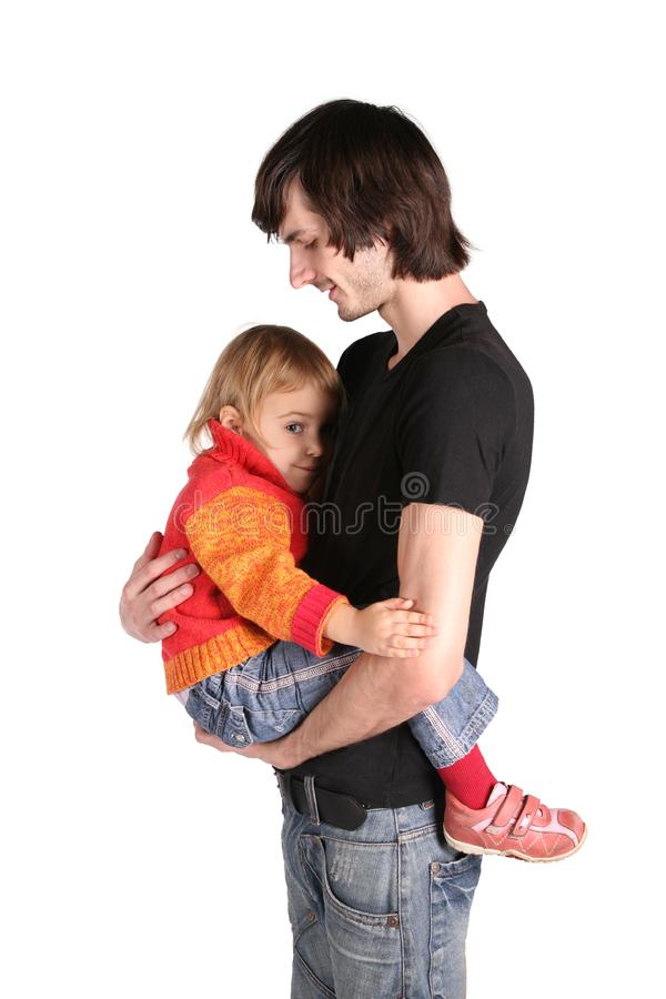 Father with daughter on hands stock photos