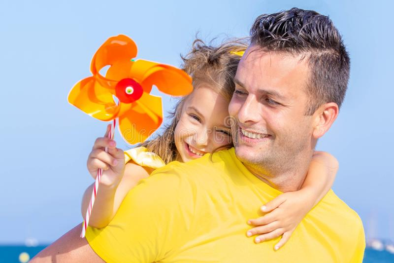 Father and daughter happy on vacations stock photography