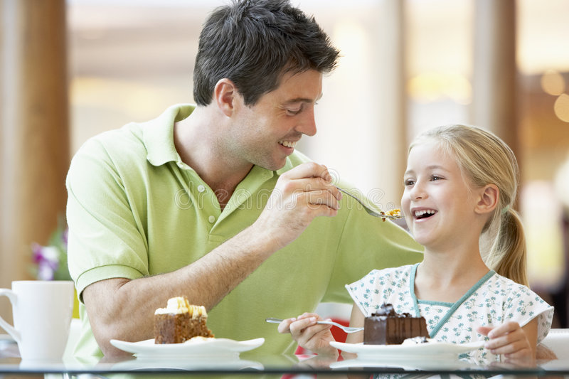 Father And Daughter Having Lunch Together royalty free stock images